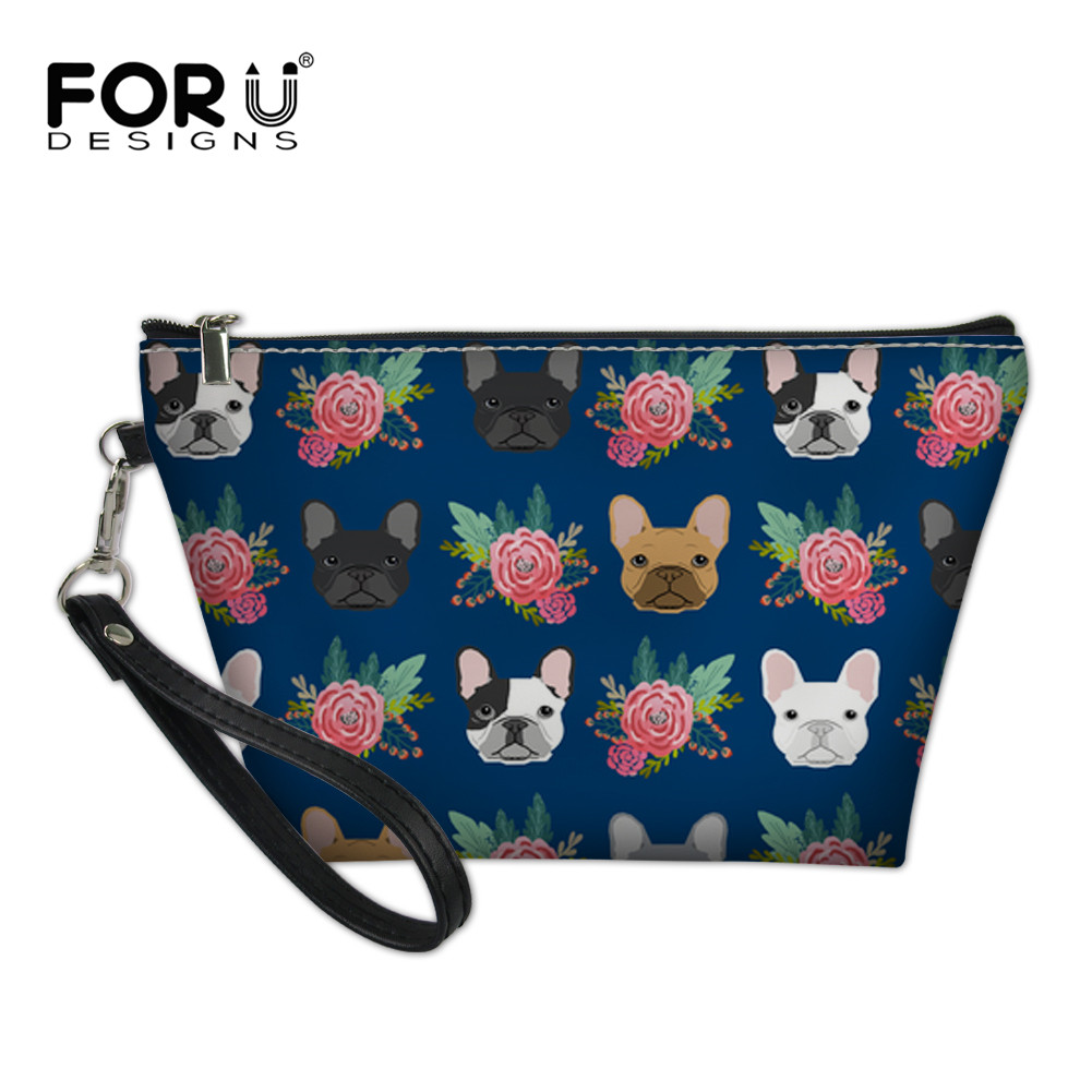 FORUDESIGNS Flower Cosmetic Bag Case Frenchies Bulldog Necessaire Travel Organizer Profe ...