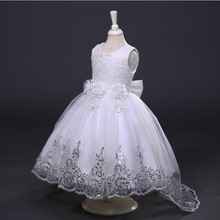 2017New Girl Summer Dress Princess Pageant Wedding Party Clothes Lace Christening Gown Toddler Girl Dress For Baby Kids Dresses