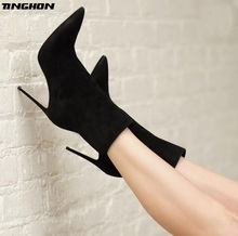 TINGHON Women Flock Mid-Calf Boots Pointed Toe Fashion Stiletto High Heels Sexy Sewing Winter Black Boots Size 35-40 black stretch fabric women boots mid calf pointed toe round heels sexy boots for women uk shoes us size 14 new fashion boots