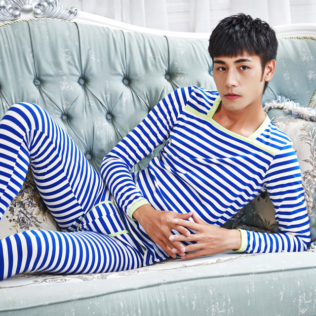 Men's Winter Striped O-neck Warm Pants and Shirts Suit Backing Cotton Soft  Long Johns (for A Set)