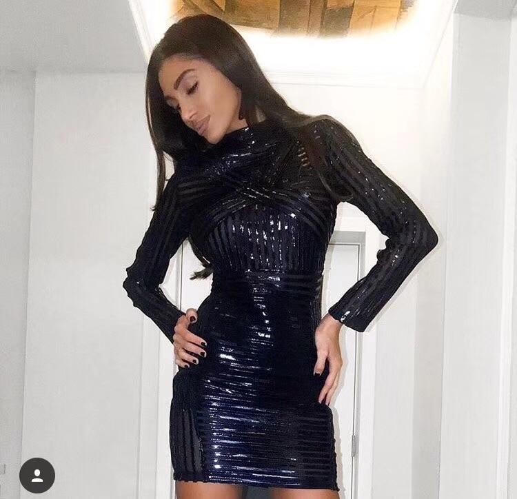 Femmes Longues Top 2018 Mode Designer Manches Robe Qualité Celebrity De Sexy À Noir nHCOAq