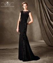 Elegante Frauen Long Black Mermaid Abendkleid Abiye gece elbisesi Spitze Abendkleider 2016 muslimischen Abendkleid