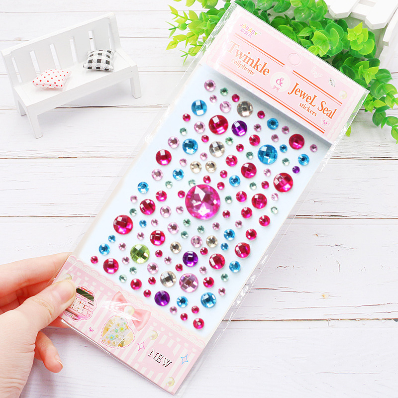 Heart-shaped diamond crystal stickers DIY handwork accessories decorative rhinestone sticker kindergarten kids girls toys gift 3