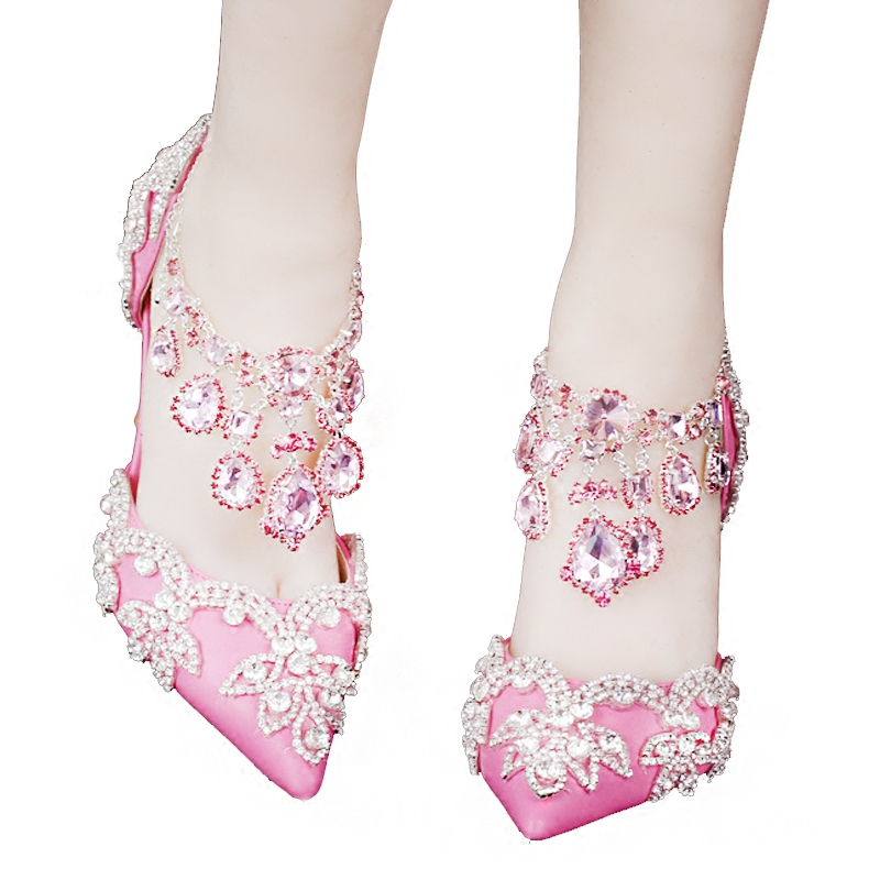 Crystal Shoes Summer Autumn Rhinestone Buckle Strap Diamond Wedding Shoes Bride Sandals Pink Red White Heels Beautiful Gift new pink red rhinestone diamond bride s shoes super high heels crystal bowl wedding shoes elegant sandals female pumps feminina