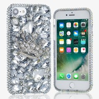 For iPhone 8 Plus X 3D Bling Shiny Girl Lady Style Handmad Silver Crown Crystal Diamond Phone Case for iPhone 5s 6s Plus 7 Plus