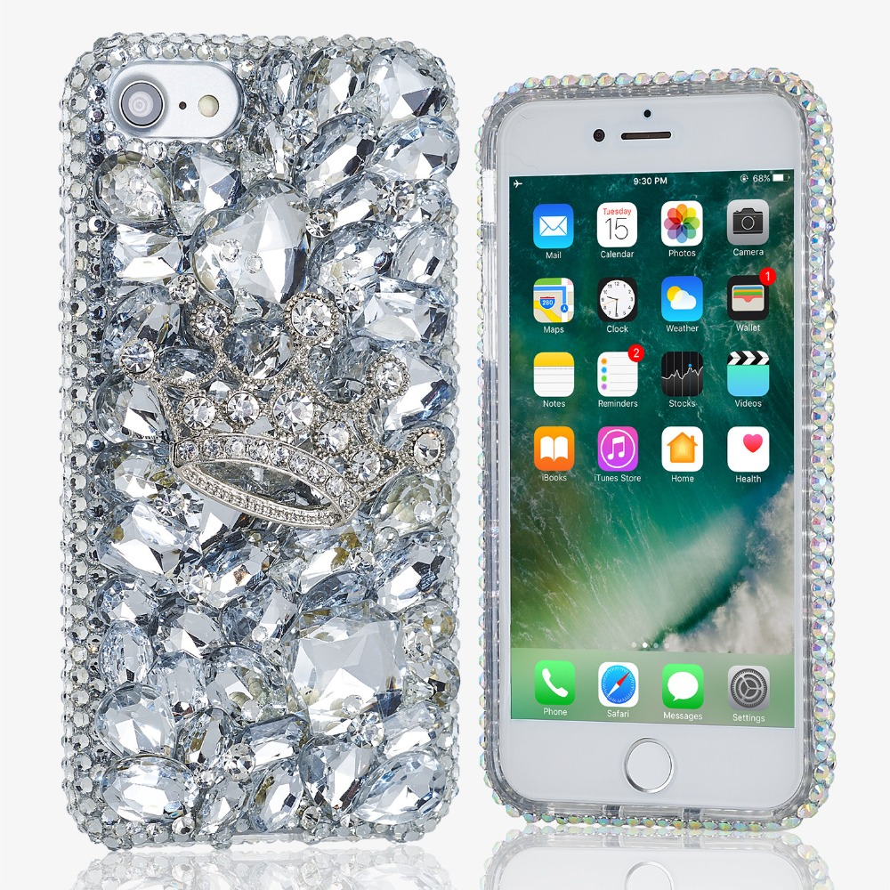 For iPhone 8 Plus X 3D Bling Shiny Girl Lady Style Handmad ...