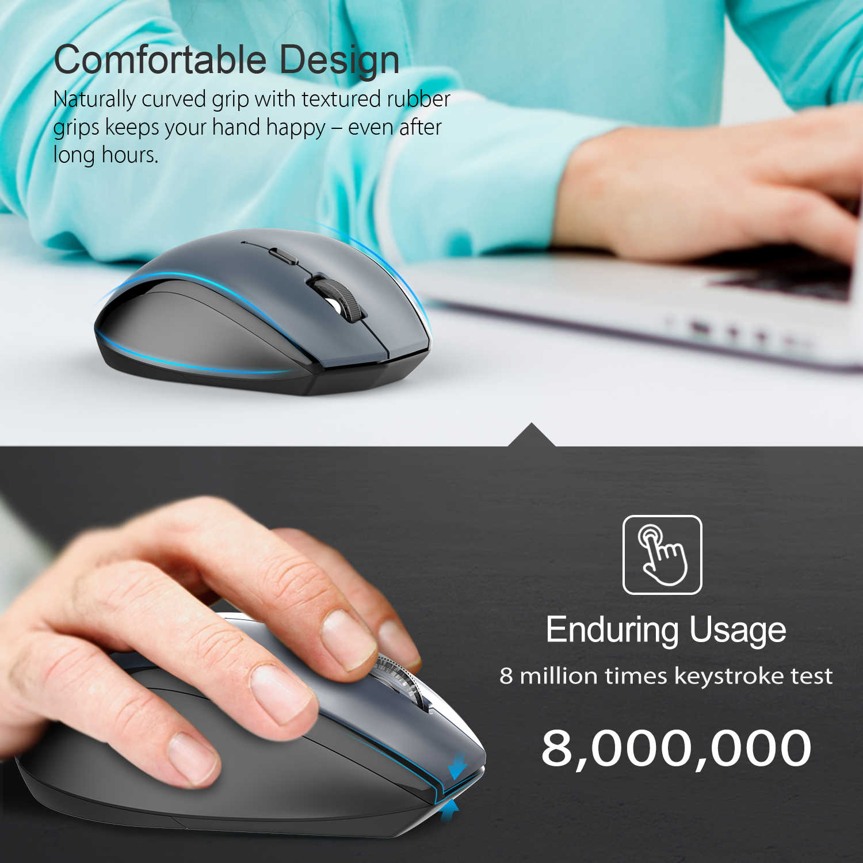 TeckNet USB 人間工学マウス 2.4 グラムワイヤレス光学携帯マウス Usb ナノレシーバーノート PC コンピュータマウス 6 ボタングレー