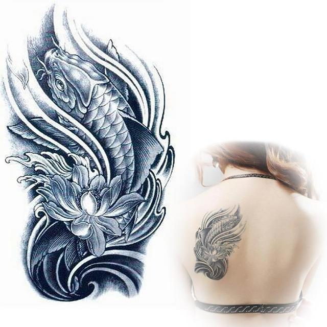 Black Koi With Lotus Flower Designs Tattoos Temporary Tattoo Sleeve