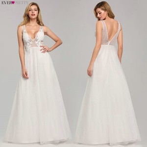 Image 1 - Wedding Dress Tulle New Sexy Deep V neck A line Backless Sleeveless Lace Appliques Simple Beach Wedding Gowns 2020 Robe Noiva