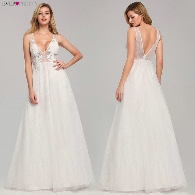 Wedding Dress Tulle New Sexy Deep V neck A line Backless Sleeveless Lace Appliques Simple Beach Wedding Gowns 2020 Robe Noiva