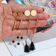 2019 6Pair/Set New Fashion High Grade Gold Sequin Stud Earrings &Delicate Black Tassel For Women Jewelry Hipster Bijoux