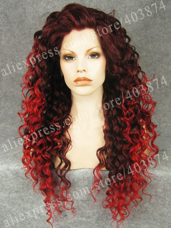ФОТО Crossdressing Wigs Long Curly Two Tone Reddish Auburn Wig Synthetic Lace Front Wig