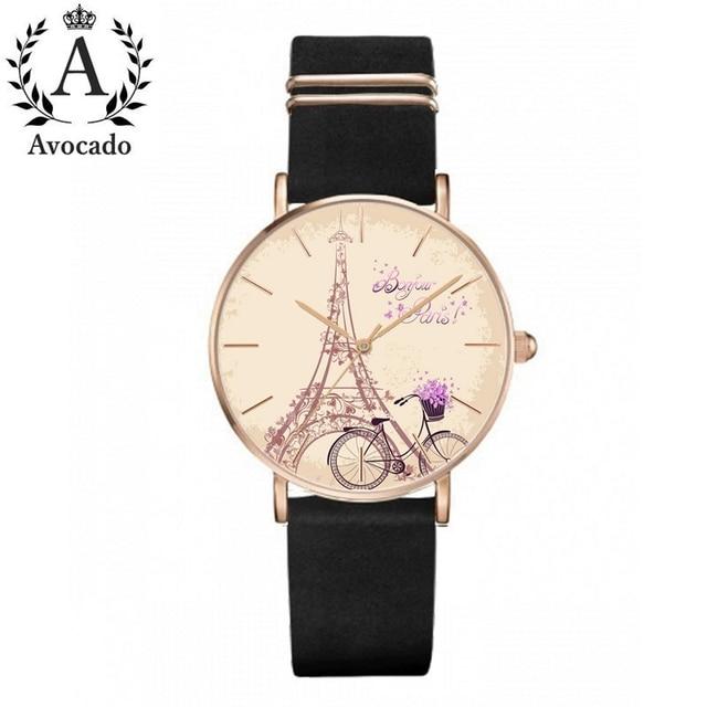 Велосипед Париж часы с изображением Эйфелевой башни напечатанные часы кожаный ремешок Женева женские кварцевые наручные часы подарок для ...
