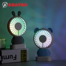KBAYBO Mini ventilador USB de mano con pilas luz LED que acciona el corriente para hogar
