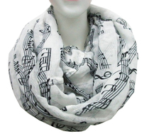 Free Shipping 2015 New Fashion Music Note Sheet Music Piano Notes Script Print Scarves Black And