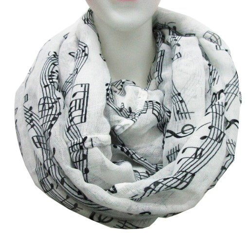 FOXMOTHER DropShipping Fashion White Navy Music Note Sheet Music Piano Notes Script Print Scarves Ring Scarf Women Mother Gifts