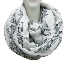 Free Shipping 2015 New Fashion Music Note Sheet Piano Notes Script Print Scarves Black and White Navy Blue Infinity Scarf