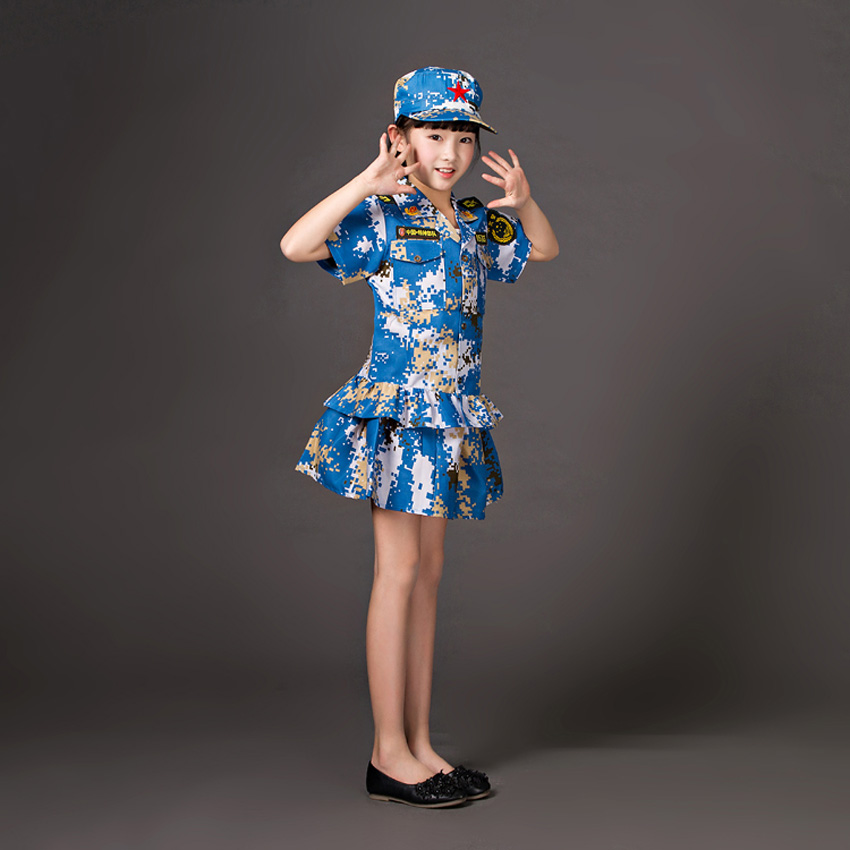 Childrens Clothing Set Baby Girls Dress Camouflage Jacket with Hat Kids Boys Military Uniform Army Suits Cs Cosplay Costumes