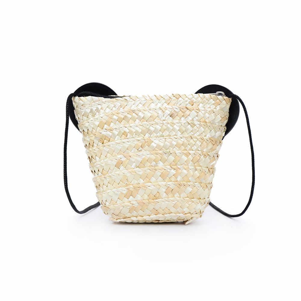 Crianças Panda Grama Tecelagem Bolsa Com Zíper Bolsa de Ombro Messenger Bag Tote Bolsa Meninas messenger bags para mulheres bolsa feminina5H