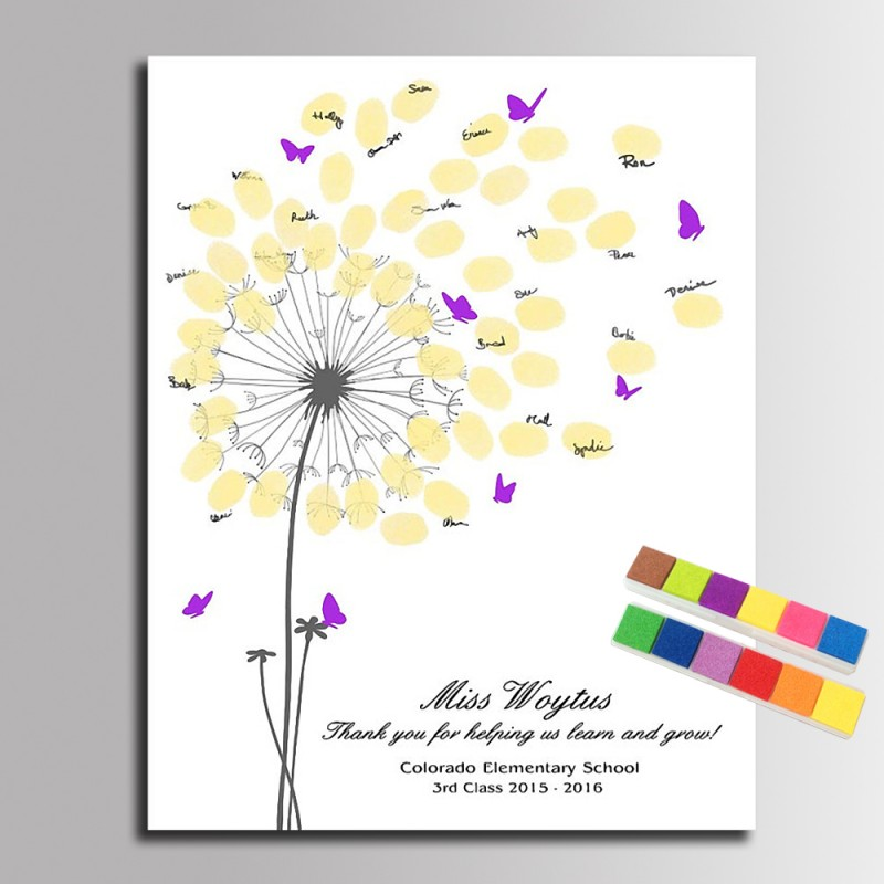 Thumb Fingerprint Signature Canvas Painting Balloon Tree Graduation