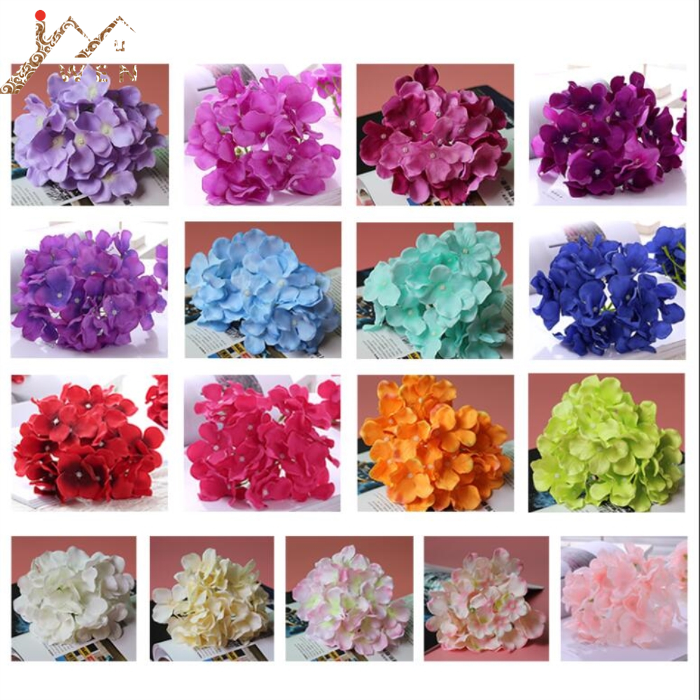 Artificial Hydrangea Flower Head 15 CM Diameter Wedding / Party / Home DIY Flower Wall Decoration 18 Color 1 Lot=50 Pcs image