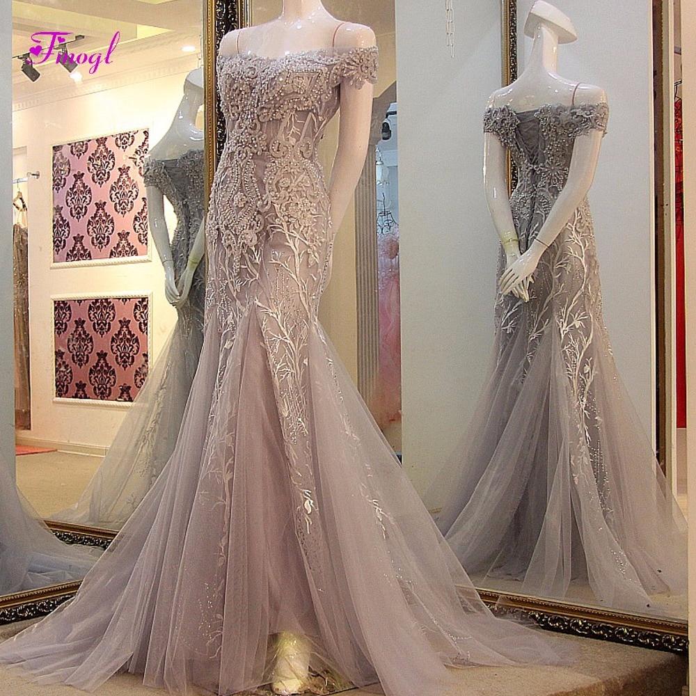 Fmogl Boat Neck Lace Up Mermaid Long Evening Dresses 2019 Graceful Appliques  Celebrity Dress Formal Party 2043b07a95e3