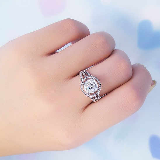 Beautiful 2ct Certified 14k White Gold Finger Ring Synthetic