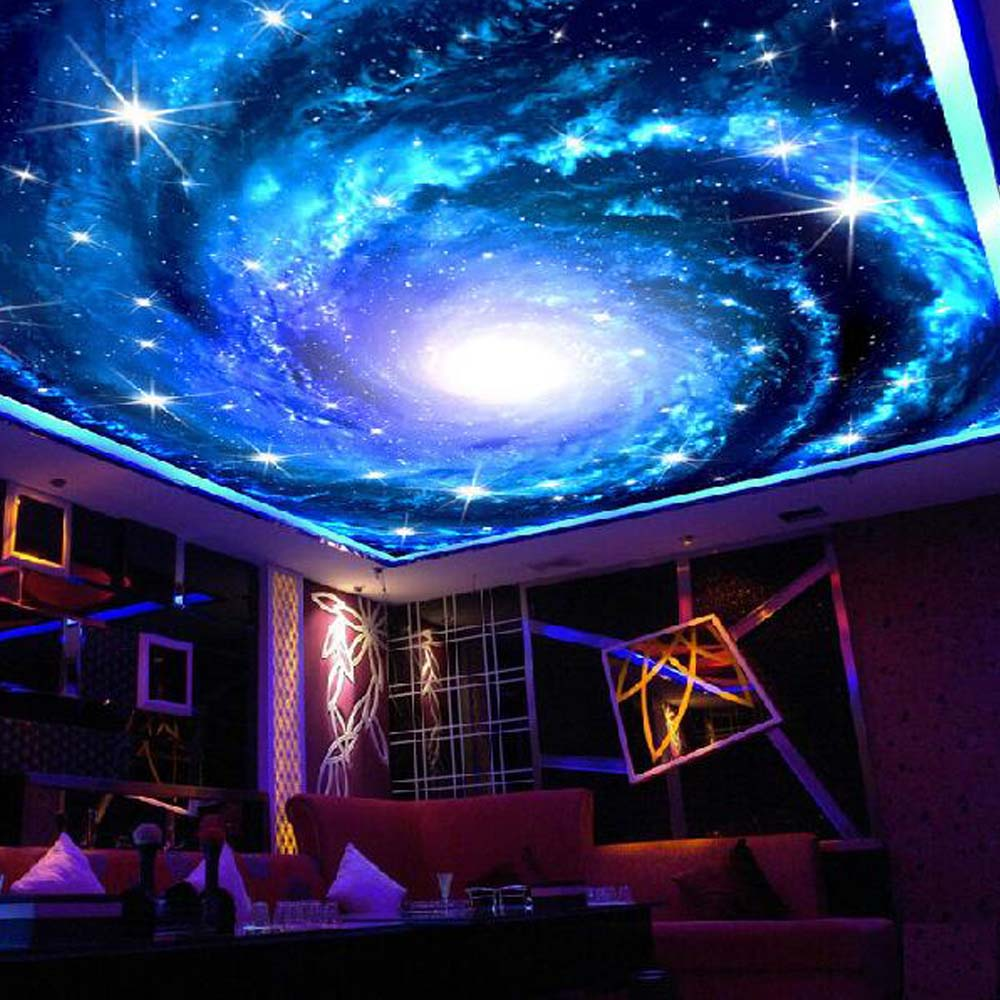 Universe space ceiling murals wallpaper 3d photo wall for Ceiling mural wallpaper