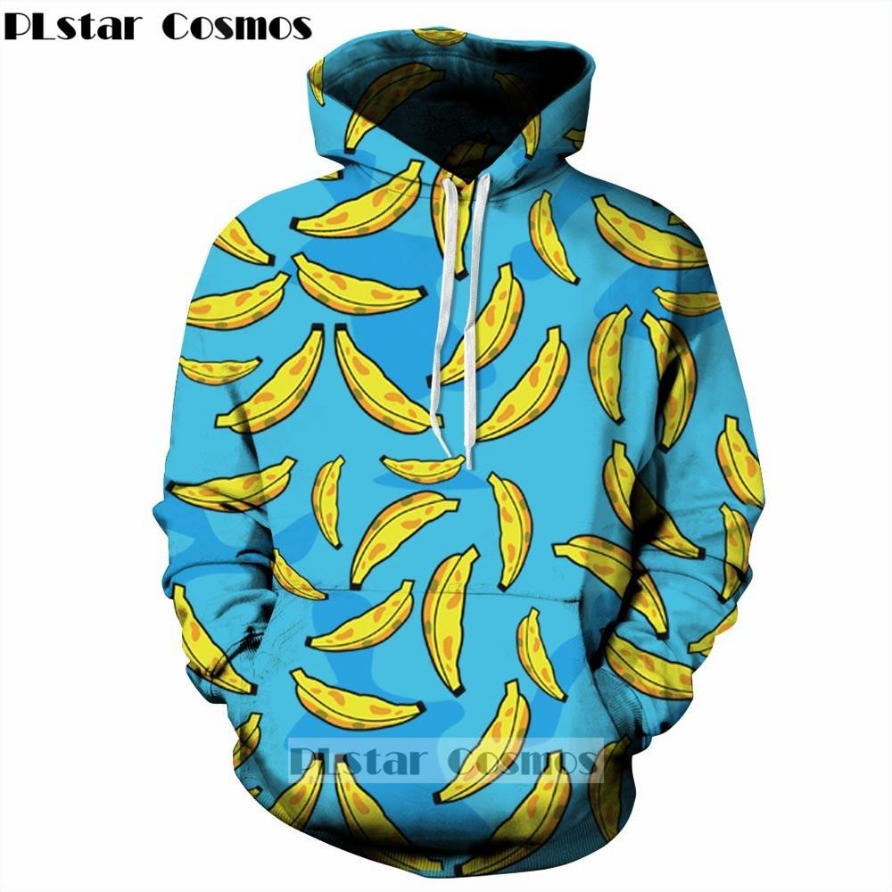 YX GIRL 2018 New Fashion Men/women Hoodies With Cap Print Banana 3d Sweatshirts Hoody Couple Tracksuits