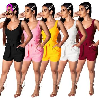 Adogirl Elegant Cotton Belt Tie Women Playsuits Rompers Casual Beach Summer 2019 Romper Female Short Jumpsuits Romper Overalls casual tie strap playsuits in pink