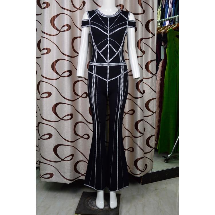 Bandage De Femmes Top Élégant Clouté Noir 2018 Parti Sexy Salopette Designer Qualité Luxe Tricoté Wq0q54wnZE
