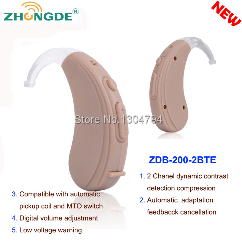 2017NEWEST!ZDB-200/4B ZhongDe Mini Ear Hearing Aid Sound Amplifier behind the ear for Better Hearing Adjustable  2 ,6,8 Channels guangzhou feie deaf rechargeable hearing aids mini behind the ear hearing aid s 109s free shipping