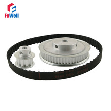 цена на XL Reduction 1:6/6:1 10T 60T Timing Pulley Gear Set Shaft Center Distance 100mm for Engraving Machine Timing Belt Pulley Kit