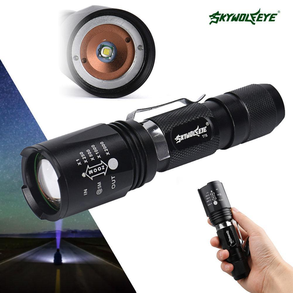 8000 Lumen Zoomable CREE XM-L T6 LED Flashlight 5 Modes Portable 18650 Battery  waterproof Aluminum Torch Focus Lamp For Cycling led cree q5 free shipping waterproof led flashlight lamp torch adjustable focus zoomable 600lm for 18650 rechargeable battery