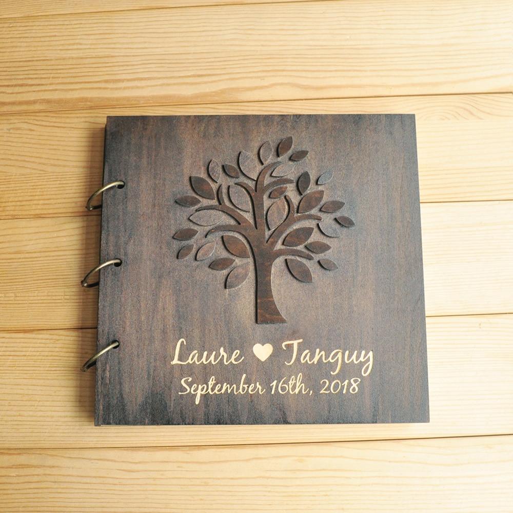 Personalized Wedding Tree Guest Book Custom Wedding Guestbook Album Wooden Guest Book Bridal Shower Custom Wedding Gifts
