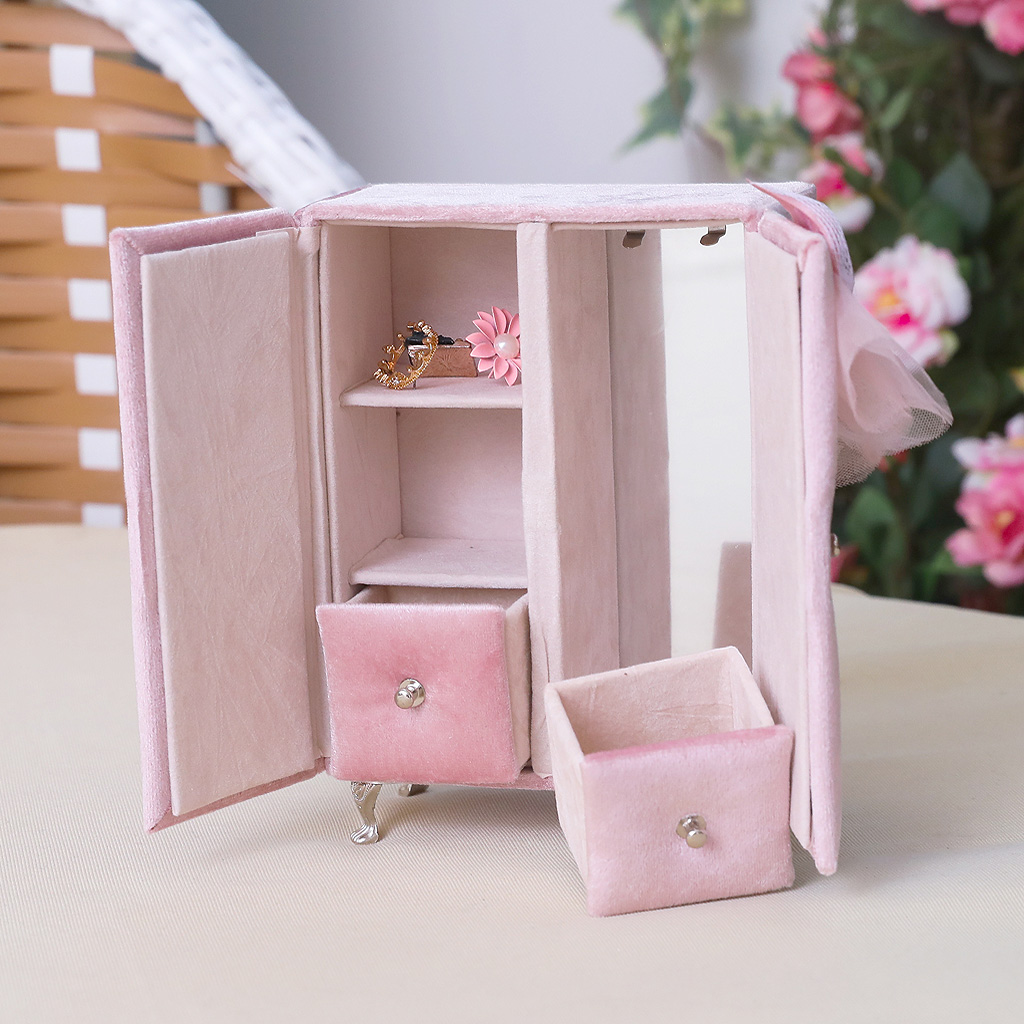 Multifunctional Pink Closet Shape Jewelry Box Bracelet Ring Display Organizer Holder With Built-in Makeup Mirror For Earring