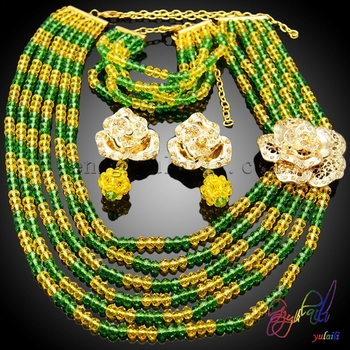 Yulaili Elegant Jewelry Set Green And Yellow Beaded Jewelry Set