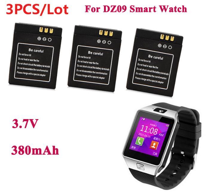 3 unids/lote 3,7 V 380 mAh batería del reemplazo para el reloj elegante dz09 SmartWatch batería recargable para dz09 reloj inteligente