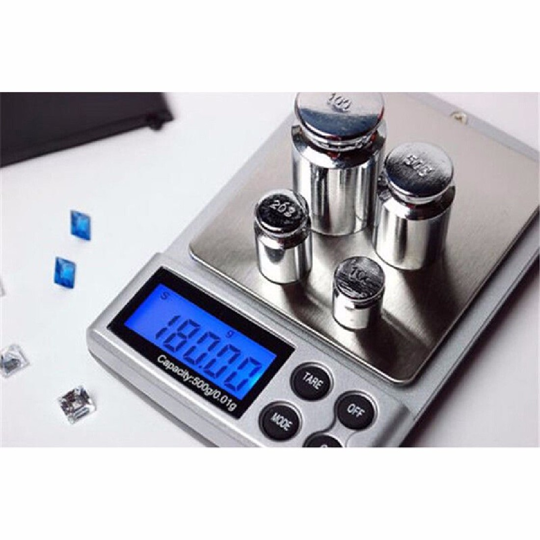 1pc 500g x 0.01g Escala de precisión digital Oro Plata Joyería - Instrumentos de medición - foto 6