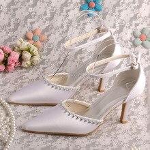 Пользовательские Свадебная Обувь Свадебные Белый Атлас Острым Носом Стилет Каблук Dropshipping