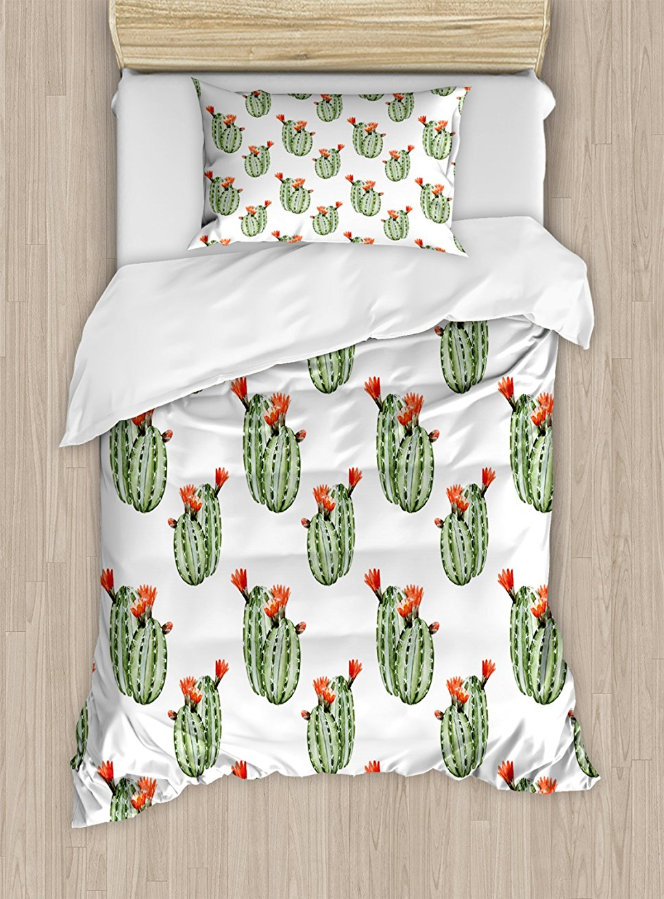 Кактус постельное белье, кактус с шипами и красные цветы мексиканской жаркая пустыня Винтаж работа изображения, 4 шт. Постельное белье