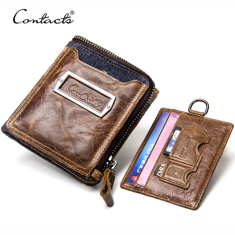 CONTACT'S Genuine Cow Leather Men Organizer Wallets With Coin Purse Card Holder Small Zipper Wallet For Men Clutch Short Purses 2017 new wallet men purse fashion leather 6 card holder sim card holder brand wallet men split cow leather purse small purses