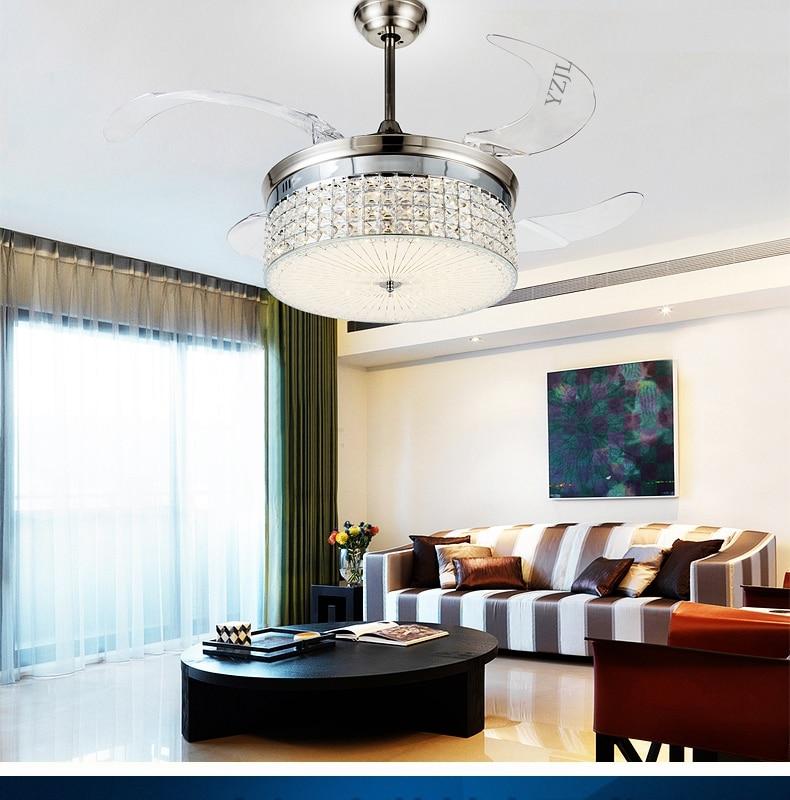 Crystal ceiling chandelier fans living room led remote - Size of ceiling fan for living room ...
