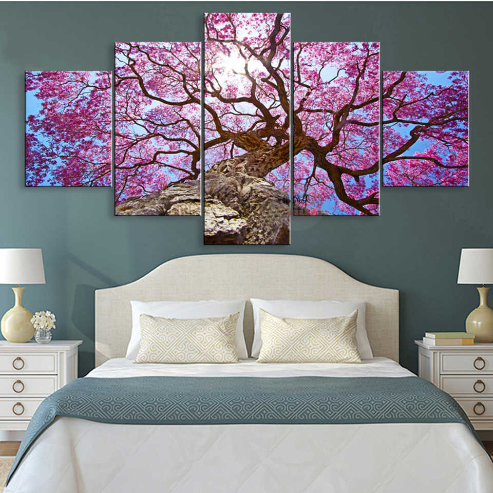 HD Printed Canvas Poster Frame Home Decor 32 Piece Blooming Cherry Blossom  Tree Living Room Wall Art Paintings Modular Pictures