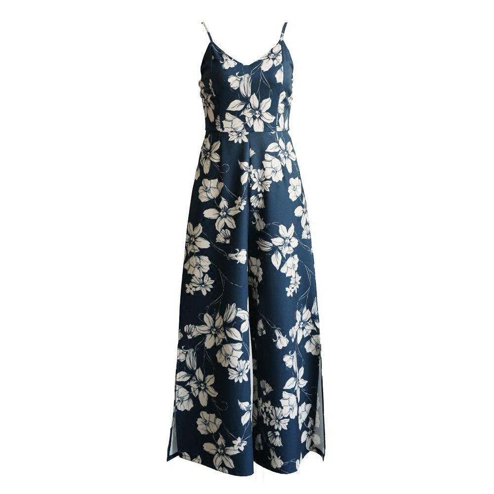 Sexy Romper Jumpsuit Women Boho Split Long Playsuit Streetwear Summer Flower Print Female Long Wide Leg Slip Bodysuit