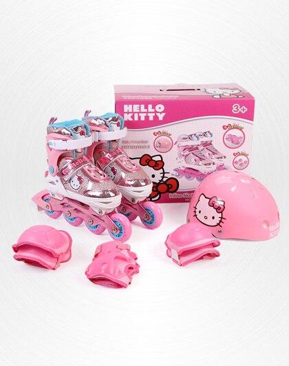 Hello Kitty complet Clignotant Chaussures de patin à roulettes avec de Protection Convient à enfants Fille Garçon Ajuster Chaussures Rue Tous Les Jours Brosse De Patinage - 5