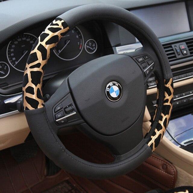 37cm kişiselleştirilmiş leopar baskı araba direksiyon kılıfı peluş simli direksiyon kapakları aksesuarları oto döşeme malzemeleri