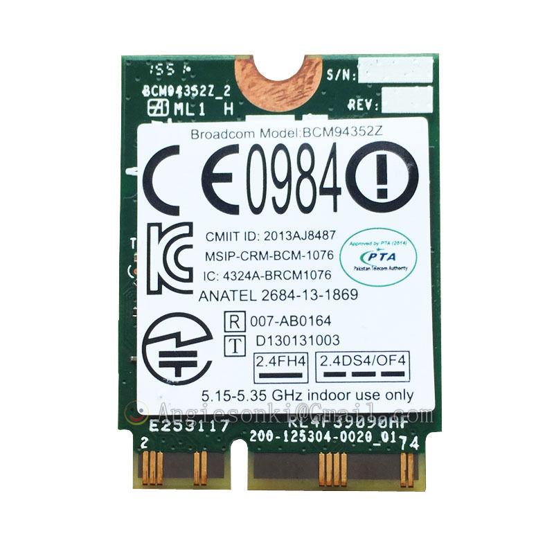 BCM94352Z Wireless-ac 867 mbps 2.4G et 5G NGFF CARTE WIFI + BT4.0 Mac 802.11ac 04X602 pour LENOVO B50-70 N50-70 E4030 Y40-80 Y50-80