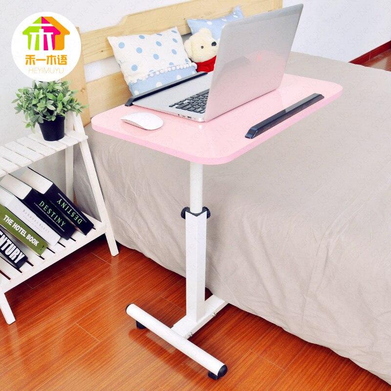 Table d'ordinateur réglable en hauteur Table d'ordinateur réglable Table de chevet Mobile pliante bureau d'écriture à la maison avec poulie
