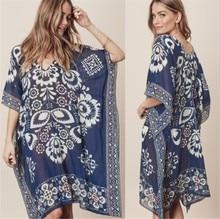 цены Women's Large Size Loose Batwing Dress Knee-Length Print Flower Navy Bathing Suit Covers 2019 New Bohemian beach Bikini Cover Up